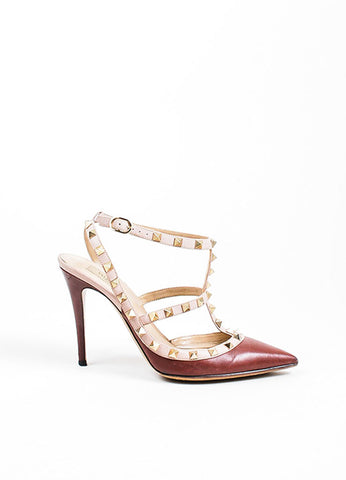 Valentino Maroon Leather Cage Rockstud Slingbacks Sideview