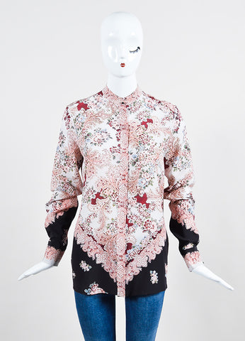 Vilshenko Light Multicolor Silk Floral Paisley Long Sleeve Blouse Frontview