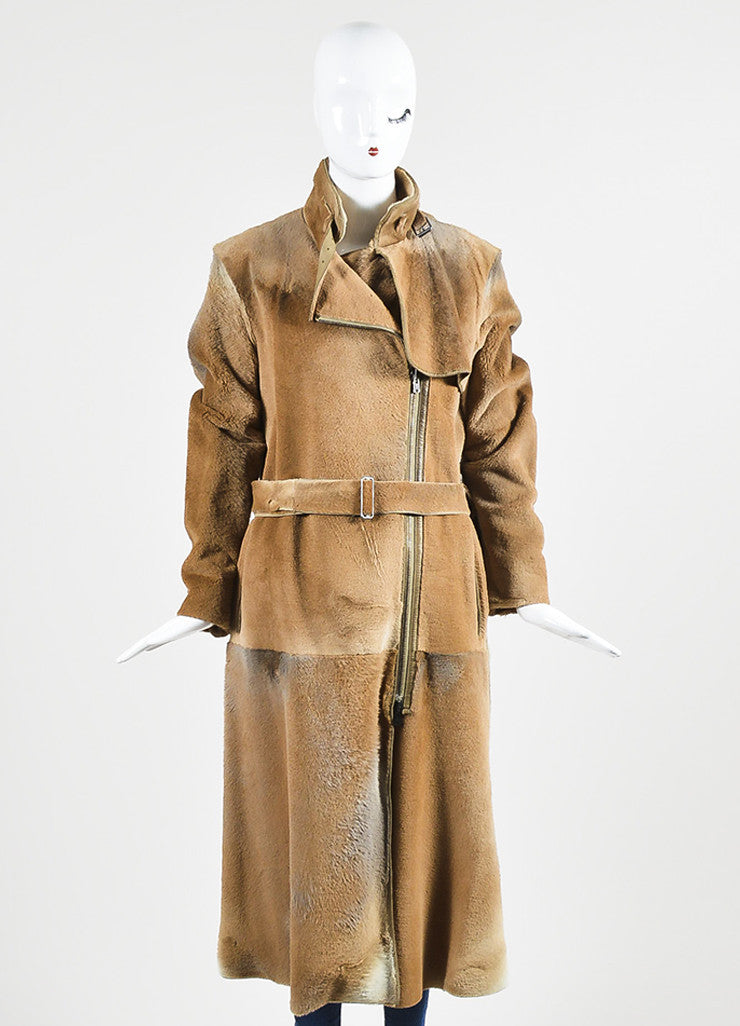 Caramel Tan Yves Saint Laurent Rive Gauche Fur and Leather Long Trench Coat Frontview
