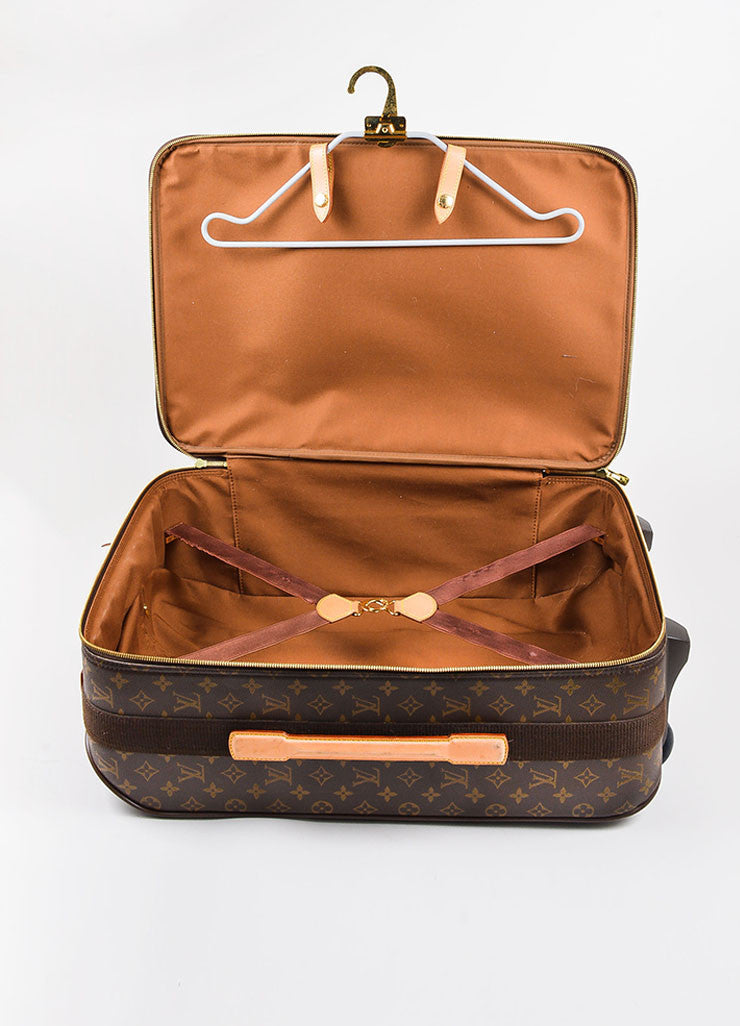 "Louis Vuitton Brown and Tan Coated Canvas Leather Trim ""Pegase 60"" Rolling Luggage Interior"