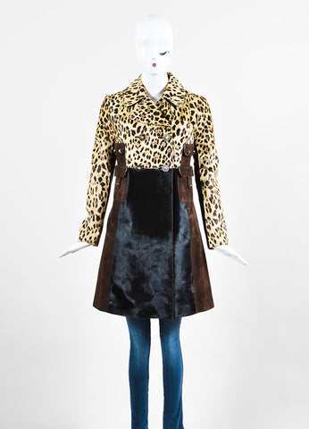 Tan and Brown Valentino Pony Hair Leopard Print Coat Frontview 2