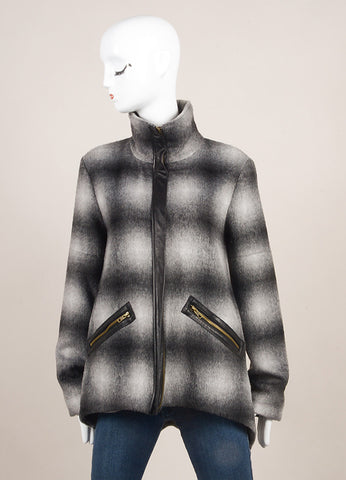 10 Crosby Derek Lam New With Tags Grey and Black Woolen Leather Trim Plaid Jacket Frontview