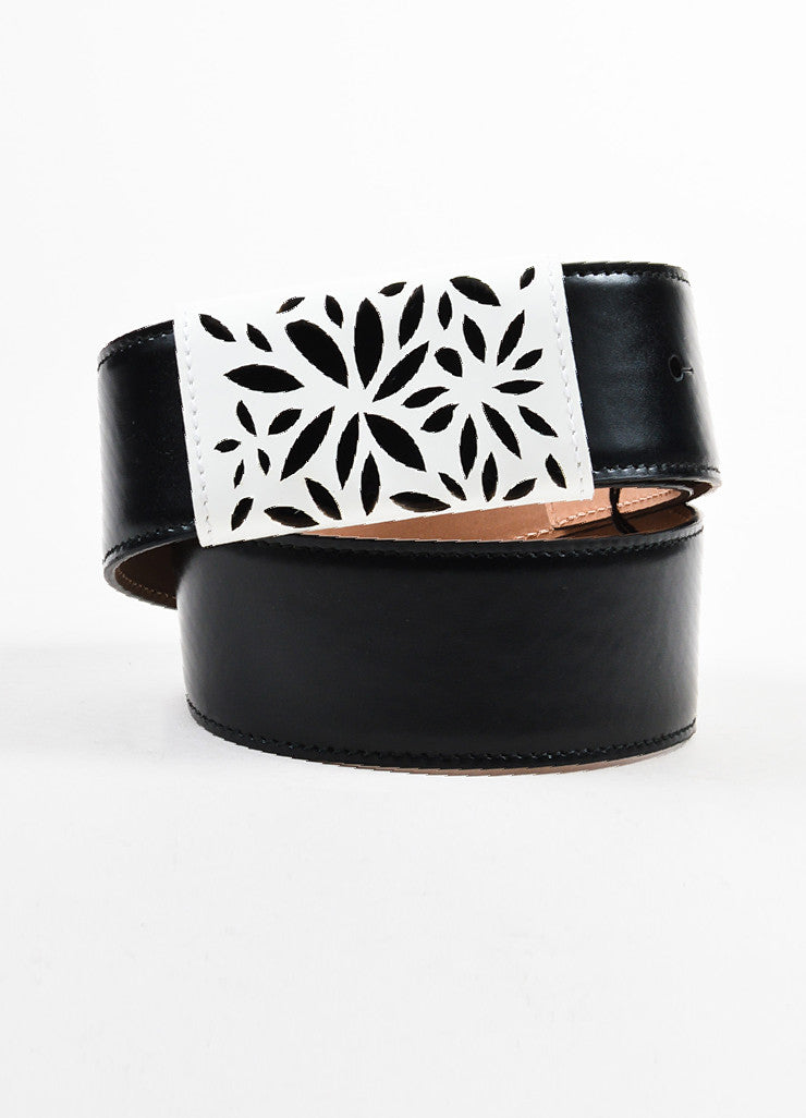 Black and White Alaia Leather Floral Laser Cut Detail Waist Belt Frontview