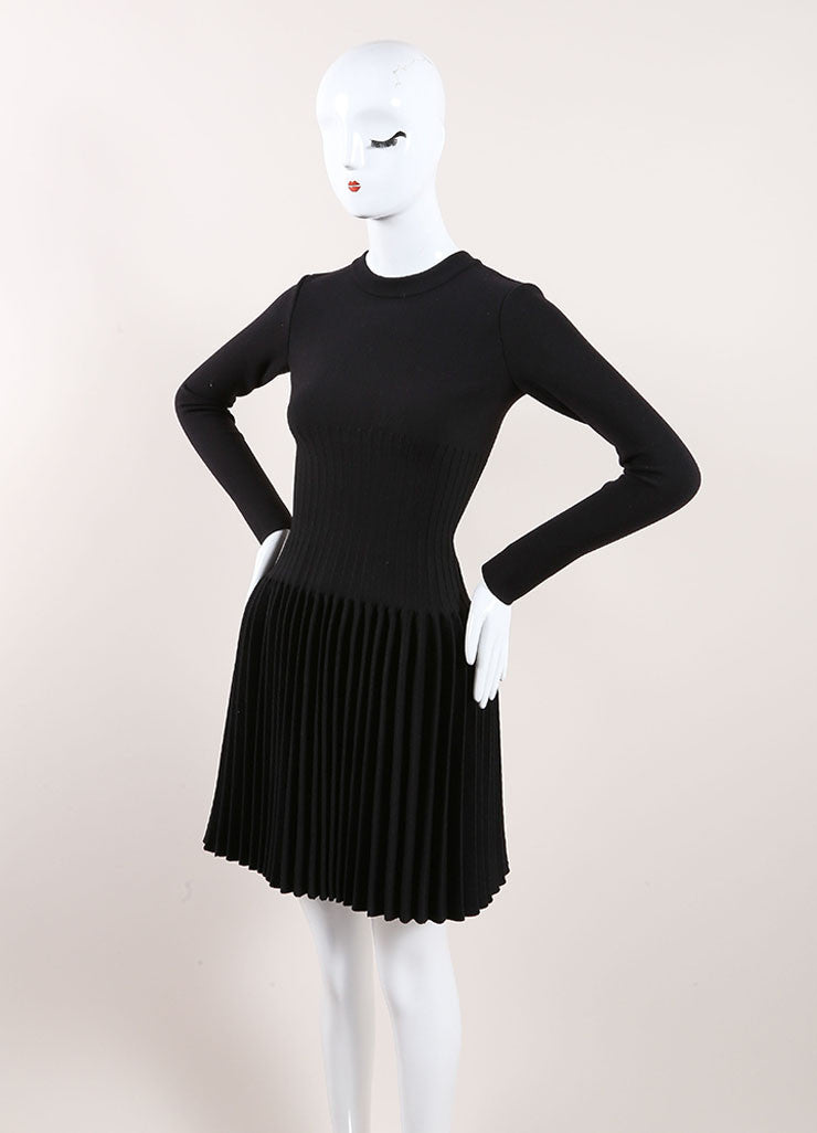 Alaia New With Tags Black Wool Knit Long Sleeve Pleated A-Line Sweater Dress Sideview