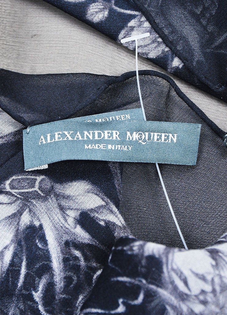 Black and Grey Alexander McQueen Birds and Skull Print Sheer Silk Scarf Brand