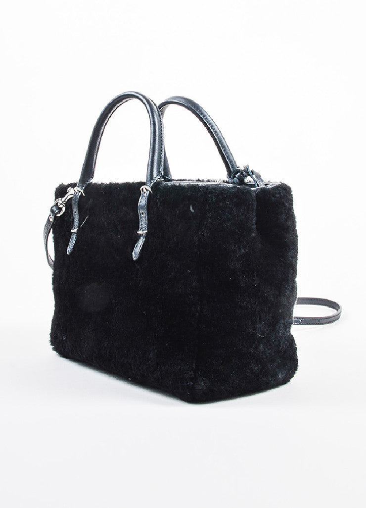 "Balenciaga Black Leather Faux Fur ""Shearling Mini Papier"" Tote Bag Sideview"