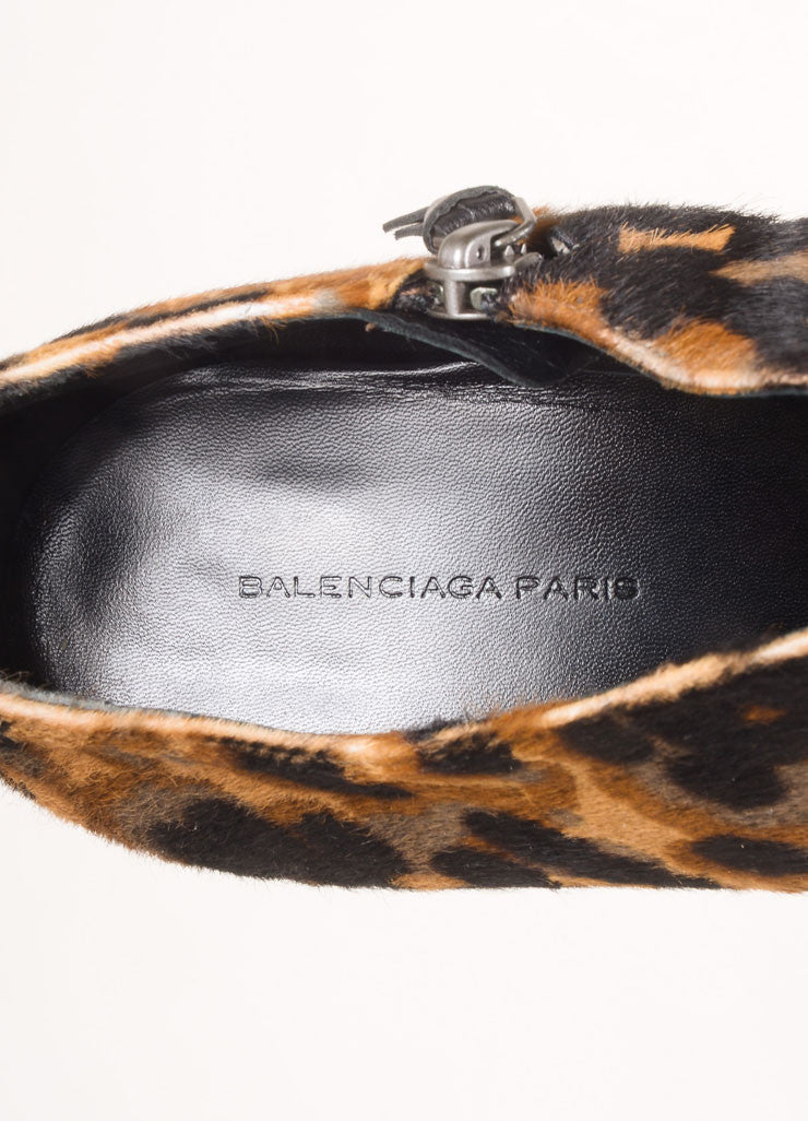 Balenciaga Brown, Black, and Grey Pony Hair Leopard Print Ankle Booties Brand