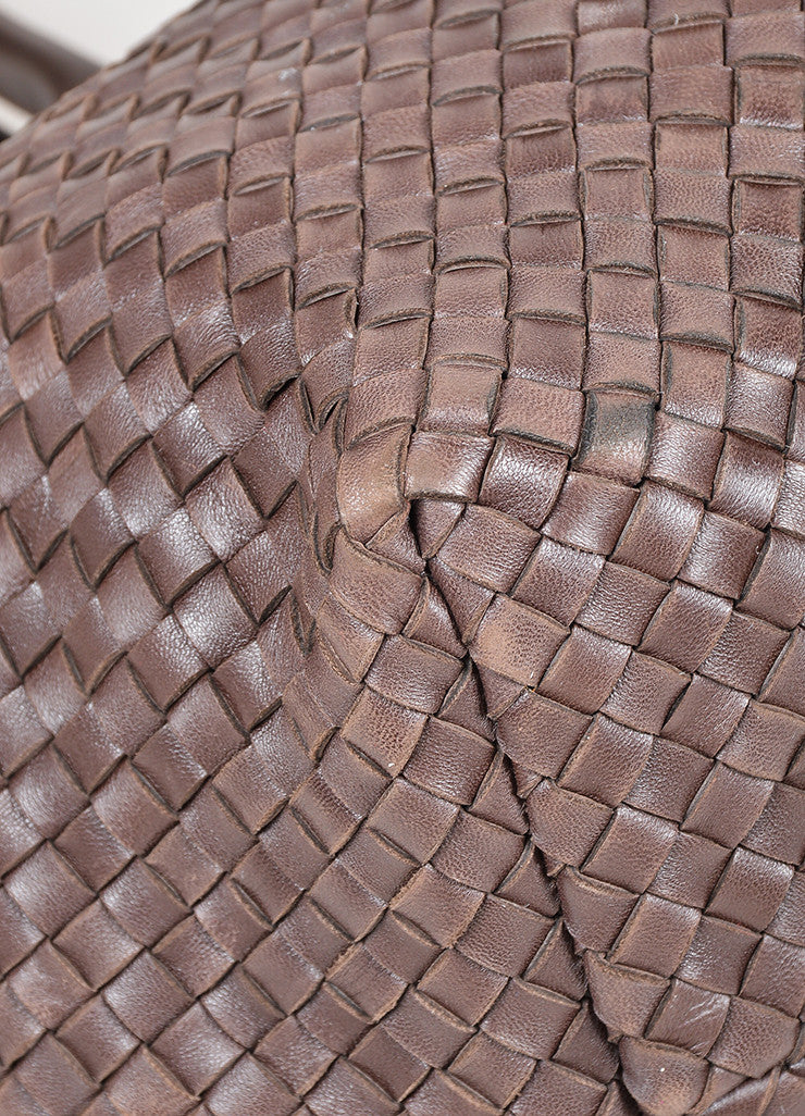 "Brown Leather Bottega Veneta ""Intrecciato Cabat"" Woven Medium Tote Bag Detail"