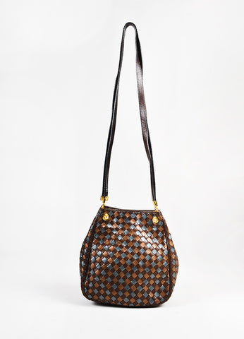 Bottega Veneta Brown Metallic Bronze Gunmetal Intrecciato Leather GHW Bucket Bag angled