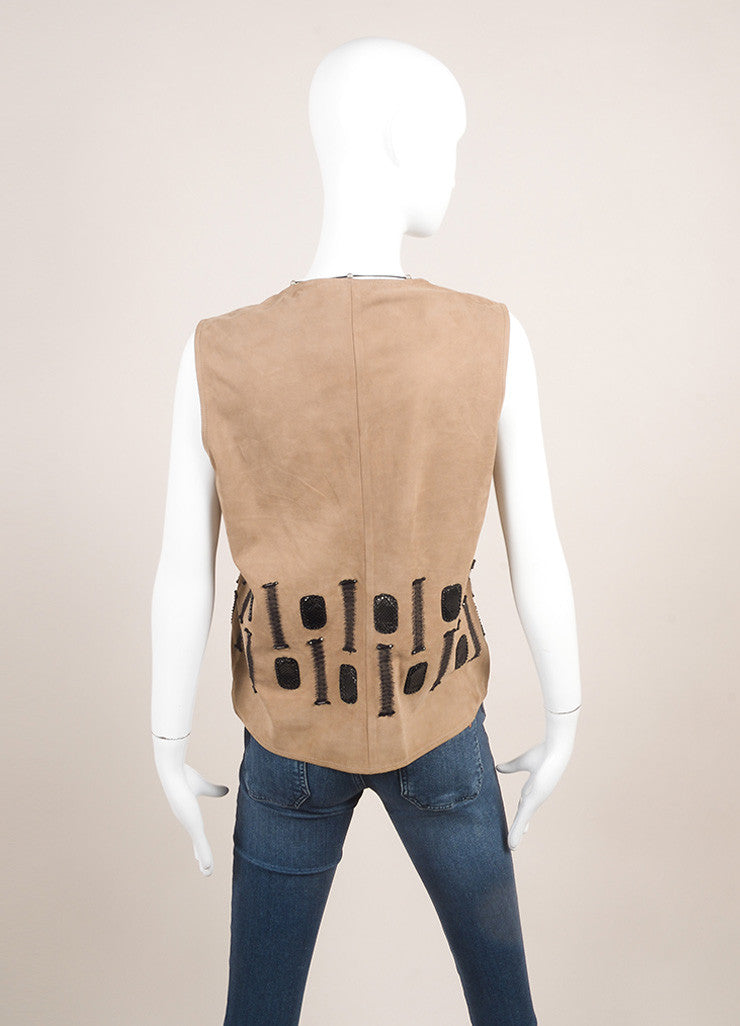 Bottega Veneta New With Tags Grey, Brown, And Black Silk Trim Beaded Leather Vest Backview