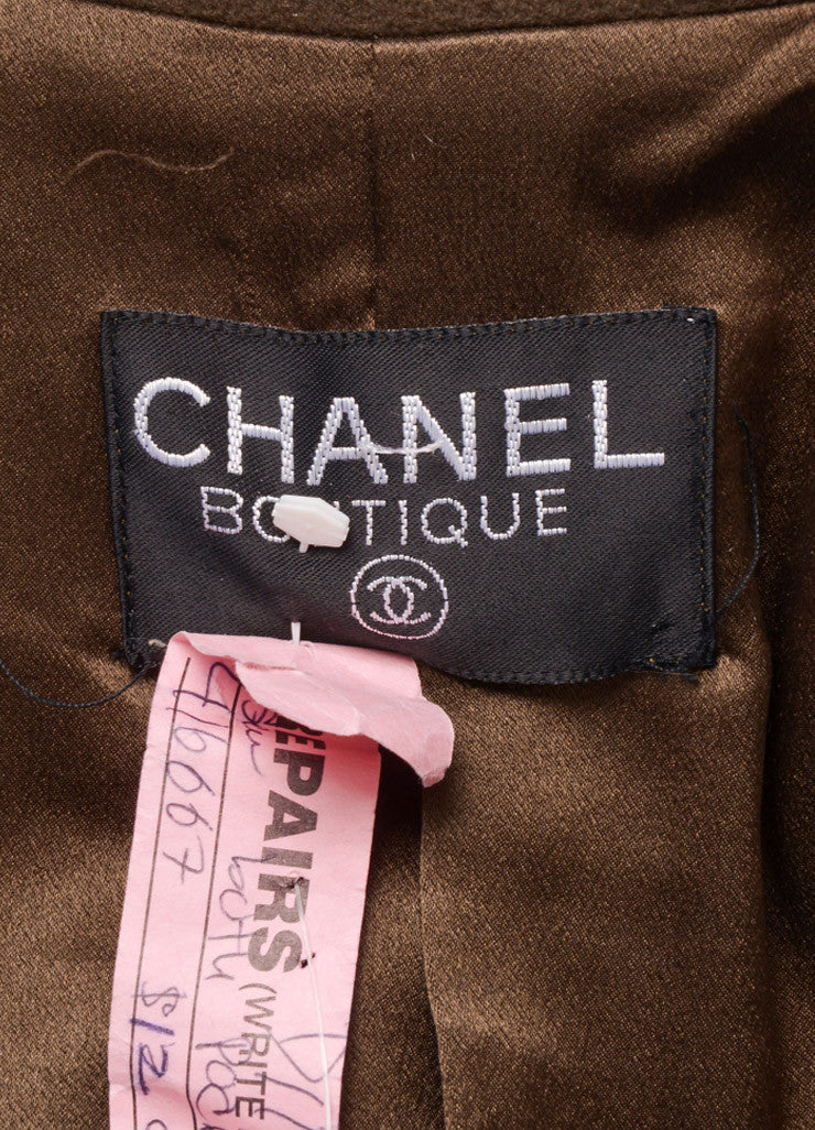 "Chanel Army Green Fleece Gold Toned ""CC"" Button Belted Jacket Brand"