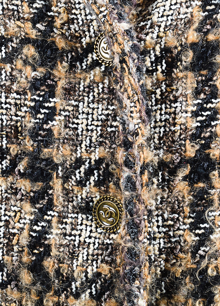 Black, Brown, and White Chanel Tweed 'CC' Button Jacket Detail