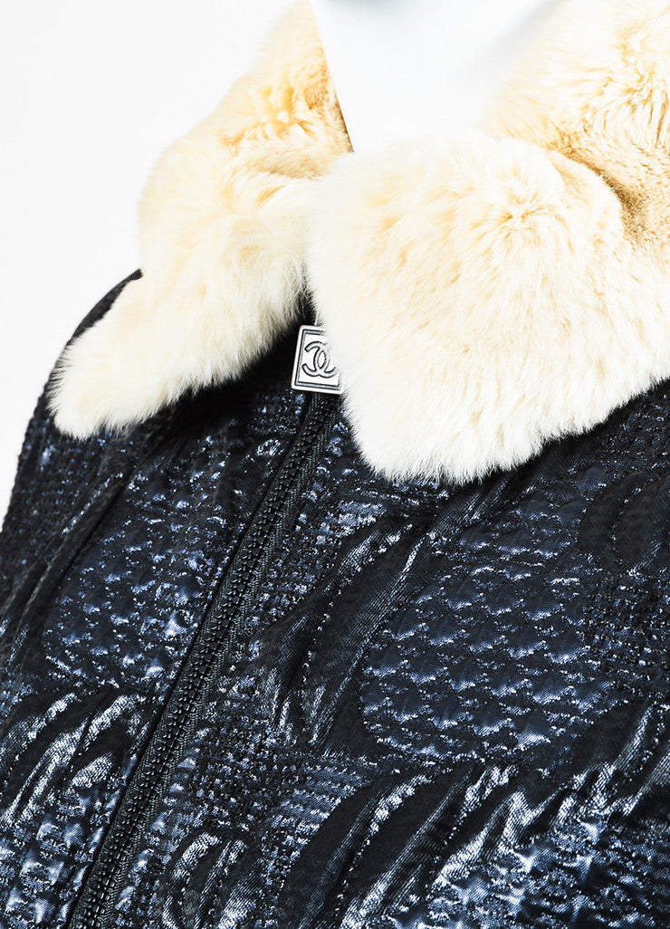 Chanel Blue, Black, and Cream Orlyag Fur Collar Textured Bomber Jacket Detail