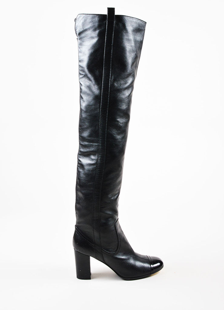 Chanel Black Leather Patent Cap Toe Heeled Over The Knee Boots Sideview