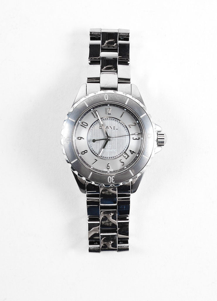 Chanel Gunmetal Grey Ceramic and Titanium J12 Automatic Chromatic Watch Frontview
