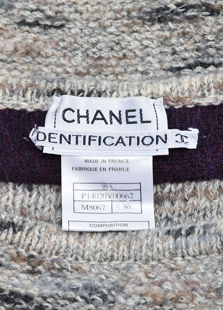 Chanel Grey and Purple Stretch Wool Fringe Pencil Skirt Brand