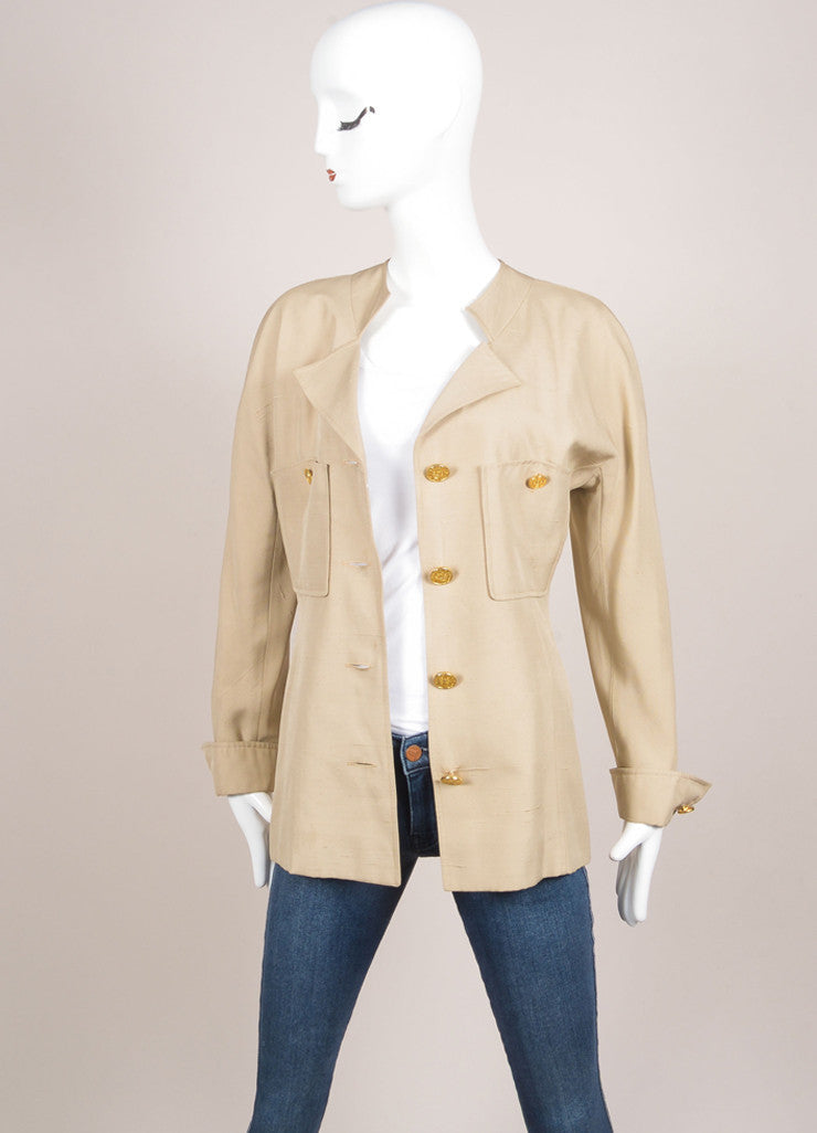 Chanel Khaki Gold Toned Coin Button Skirt Suit Jacket