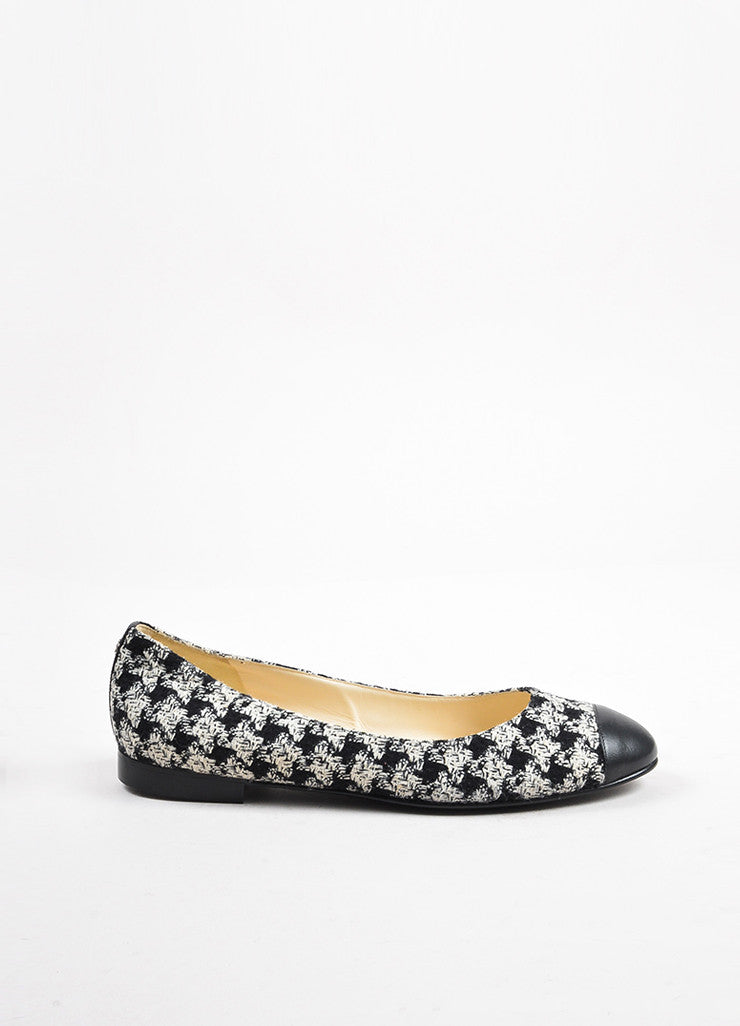 Chanel Black White Tweed Leather Cap Houndstooth Ballerina Flats Side