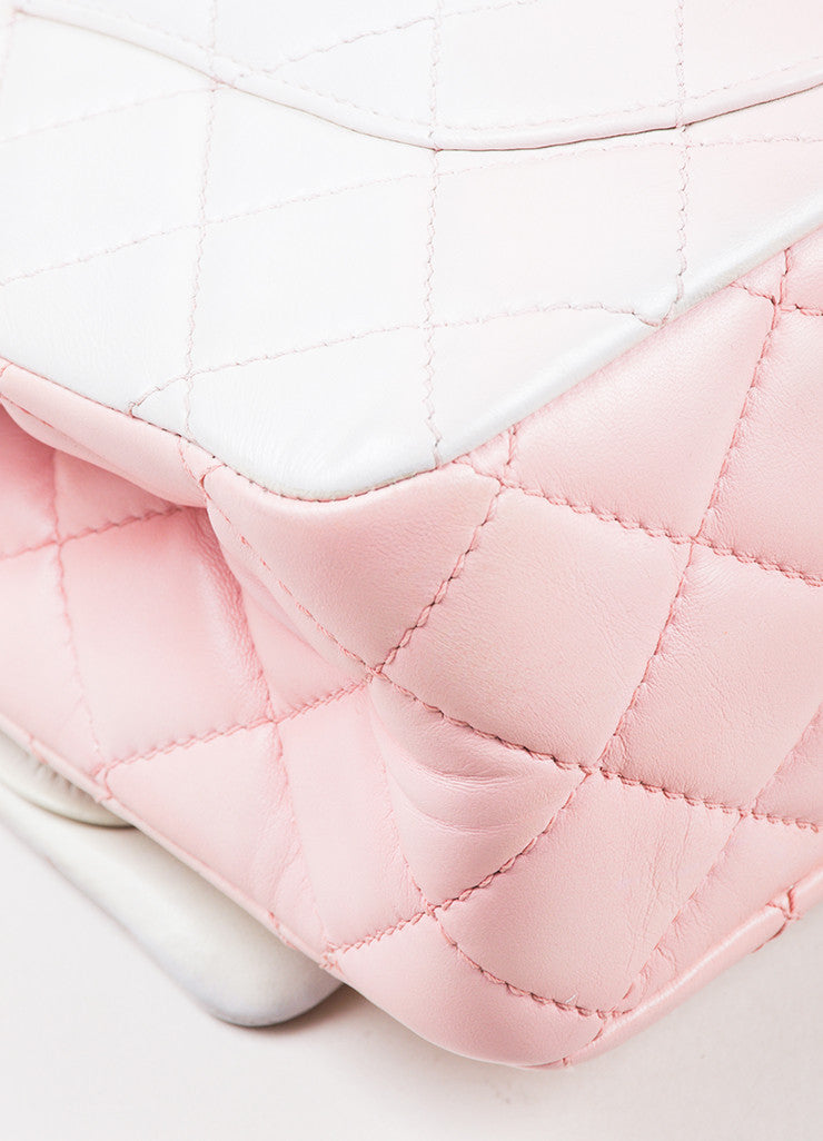 "Chanel Pink and White Leather Ombre Degrad̩ ""2.55 Reissue 227"" Jumbo Double Flap Bag Detail"
