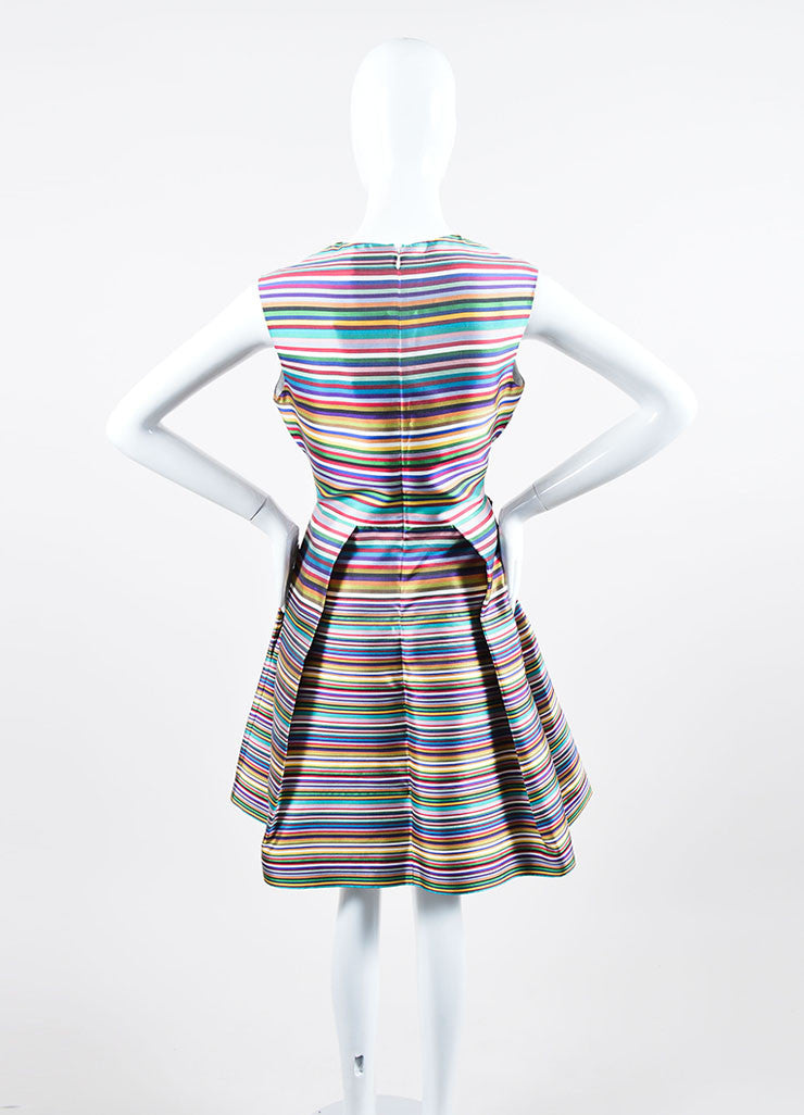 Multicolor Christian Dior Silk Stripe Pleated Sleeveless Dress Backview