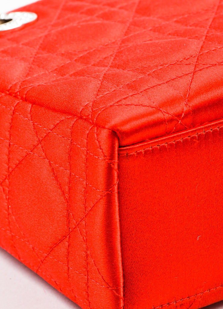 "Christian Dior Red Satin Quilted Acrylic Handle Rhinestone ""Mini Lady Dior"" Bag Detail"