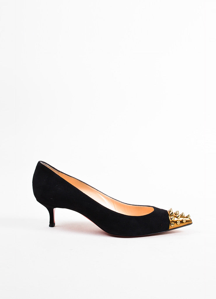 "Christian Louboutin Black and Gold Suede Spike Studded Cap Toe ""Geo 45"" Pumps Sideview"