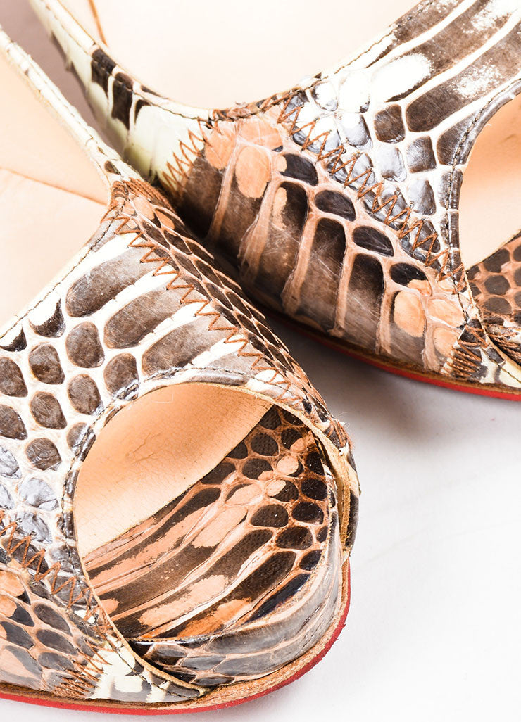 Brown Christian Louboutin Patchwork Watersnake Very Prive Peep Toe Pumps Detail