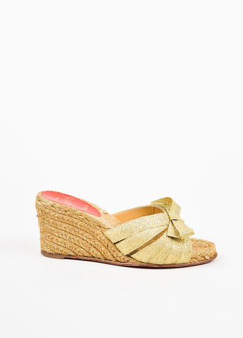 "Christian Louboutin Metallic Gold Strappy Bow Wedge ""Tiburon"" Mule Sandals Sideview"