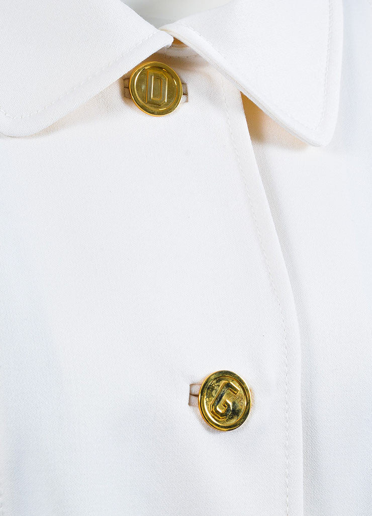 Dolce & Gabbana White Virgin Wool 'DG' Buttoned & Belted Jacket Detail