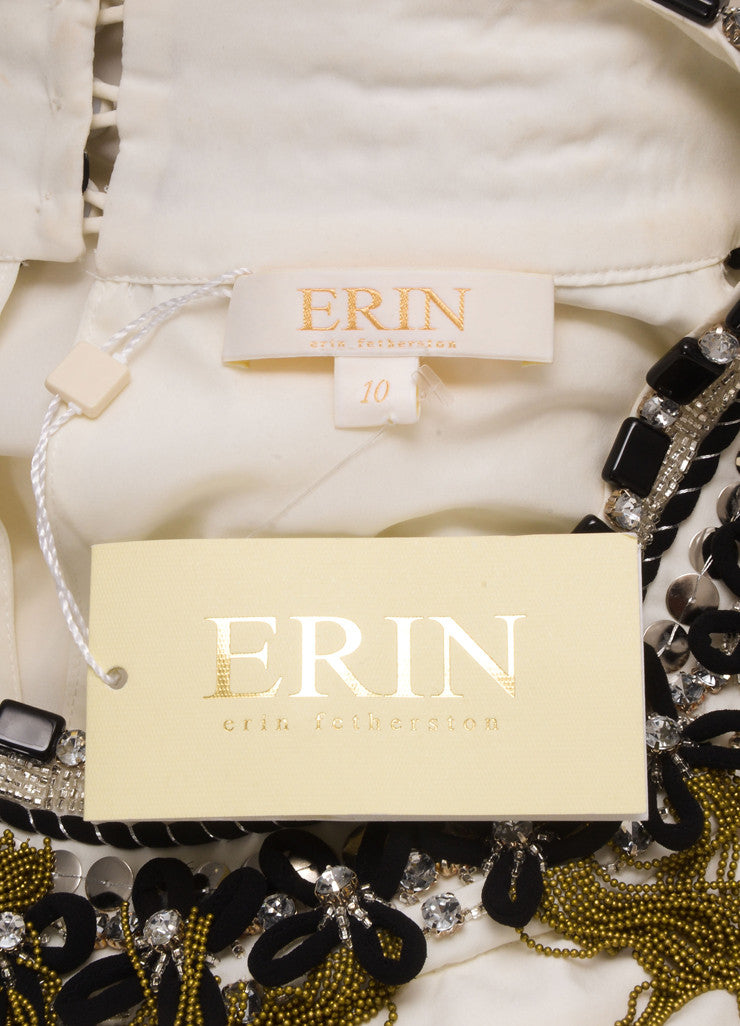 Erin by Erin Fetherson New With Tags Cream Silk Embellished Sleeveless Shift Dress Brand