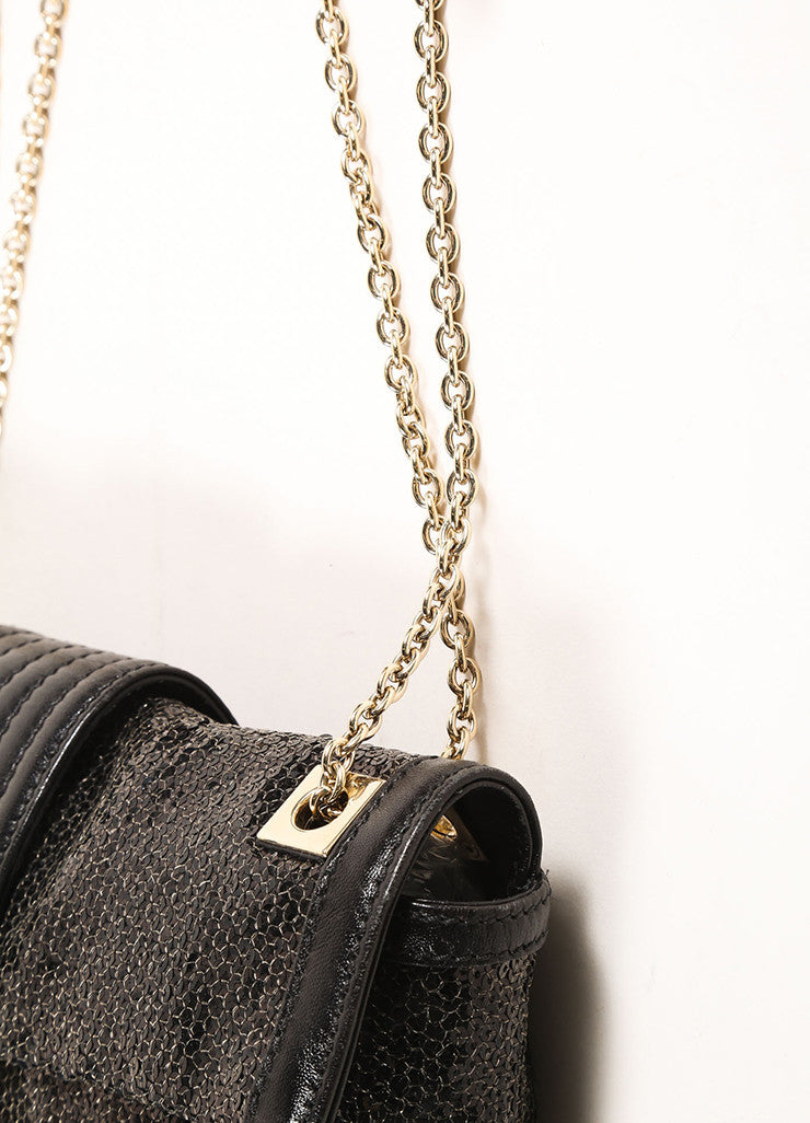 "Fendi Black Sequin Leather Trim Chain Strap ""FF"" Flap Baguette Detail 2"