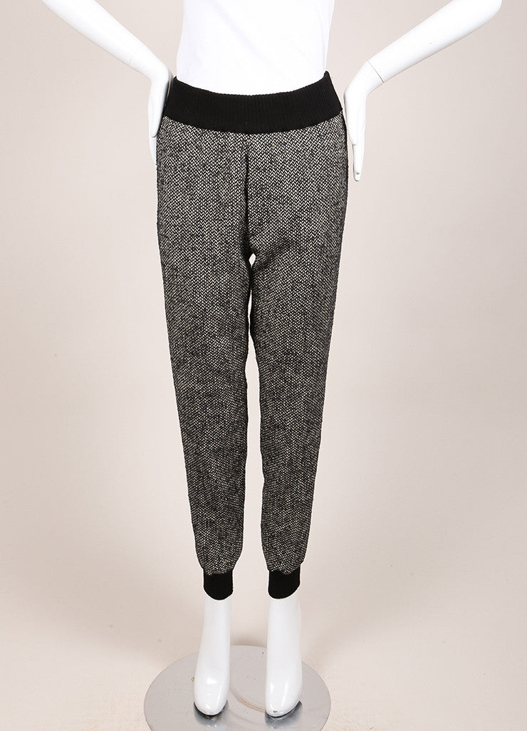 "Giada Forte New With Tags Black and White Knit Tweed ""Notte"" Jogging Pants Frontview"