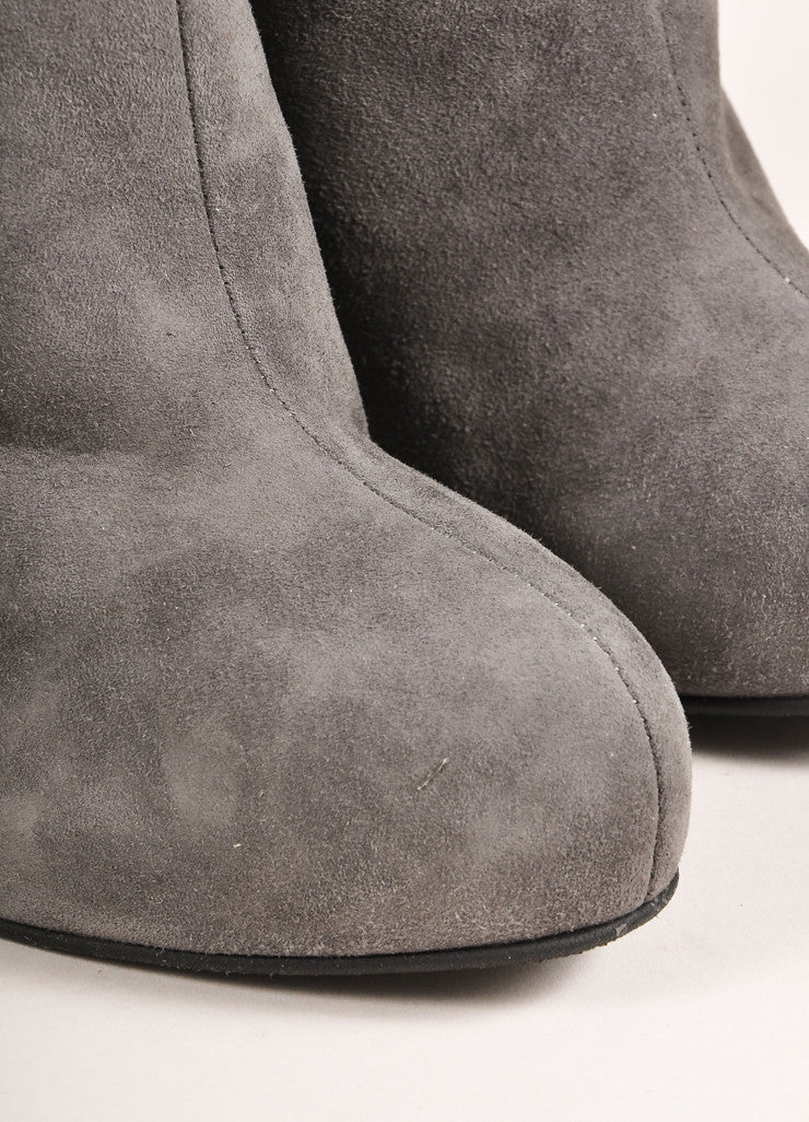 "Giuseppe Zanotti Grey Suede Leather Wedge Ankle ""Daisy"" Booties  Detail"