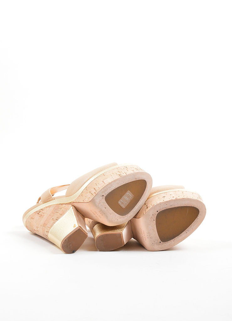 Giuseppe Zanotti Tan and Gold Leather Metallic Cork Platform Sandals Outsoles