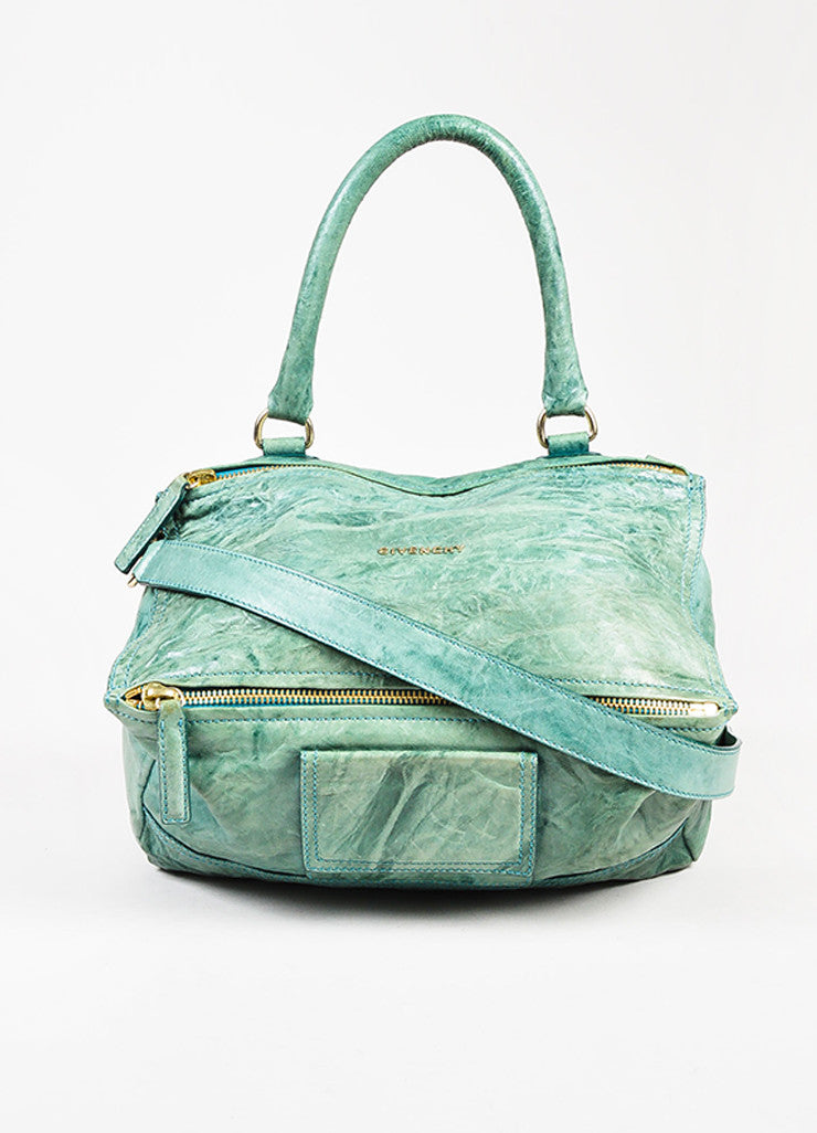 Givenchy Teal Distressed Sheepskin Leather Small Pandora Shoulder Bag Front