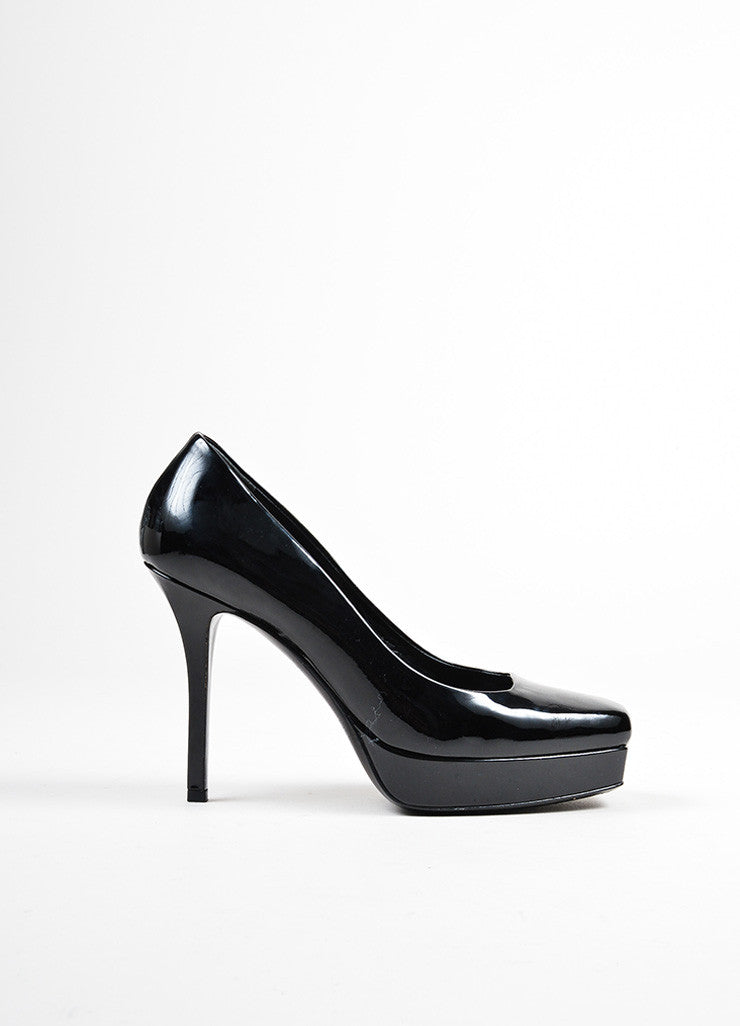 "Black Gucci Patent Leather Platform Square Stiletto Heel ""Tile"" Pumps Sideview"