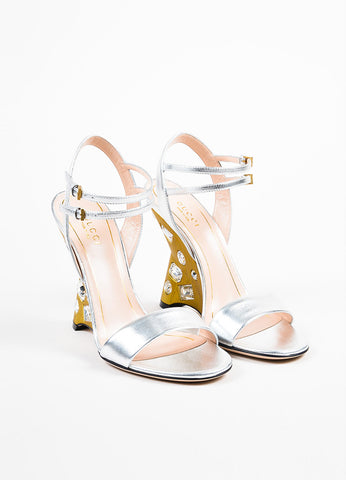 "Silver and Gold Gucci Metallic Jeweled ""Engel"" Wedge Sandals Front"