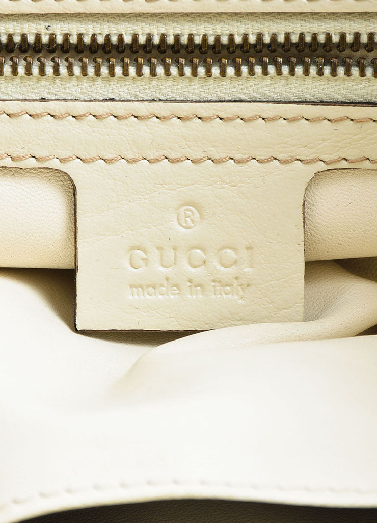 "Gucci Cream and Brown Python Leather Drawstring ""Interlocking Icon"" Hobo Bag Brand"