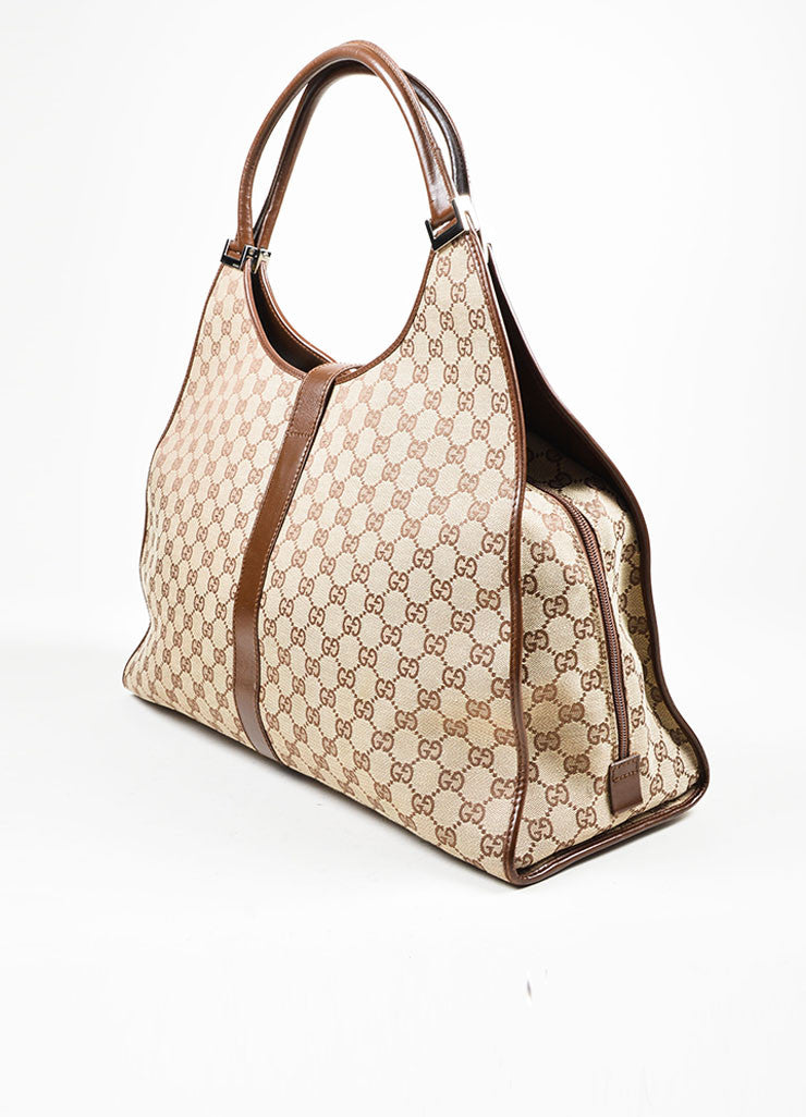 "Tan and Brown Gucci Monogram Canvas and Leather ""Bardot"" Zip Extra Large Shoulder Bag Sideview"