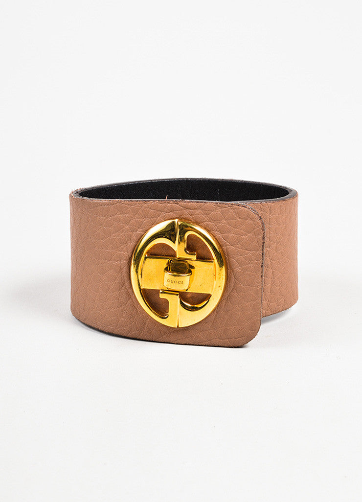 Gucci Tan and Gold Toned Leather 'GG' Logo Turn Lock Wide Cuff Bracelet Frontview