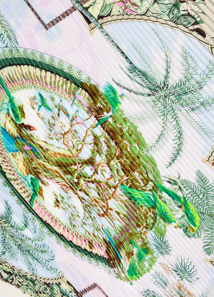 "Cream and Multicolor Hermes Silk Tropical Print ""Aloha"" Plisse Scarf Detail"