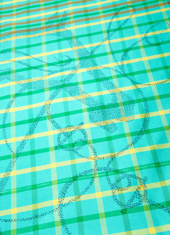 Green, Brown, and Yellow Hermes Plaid Silk Horse Print Scarf Detail