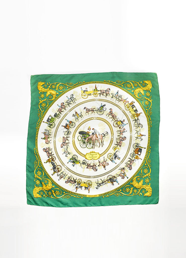 "Hermes Green and Yellow Silk ""La Promenade de Longchamps"" Print Square Scarf Frontview 2"