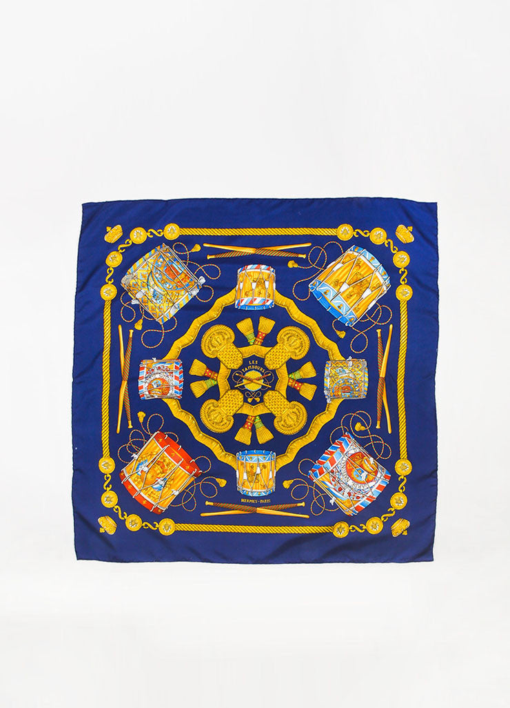 "Hermes Navy Blue and Gold Silk ""Les Tambours"" Print 90cm Square Scarf Frontview"