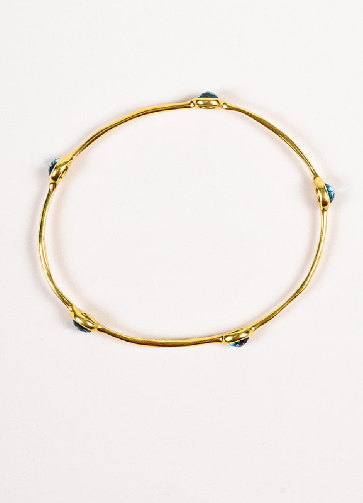 "Ippolita 18K Yellow Gold and Blue Topaz ""Rock Candy"" Bangle Bracelet Topview"