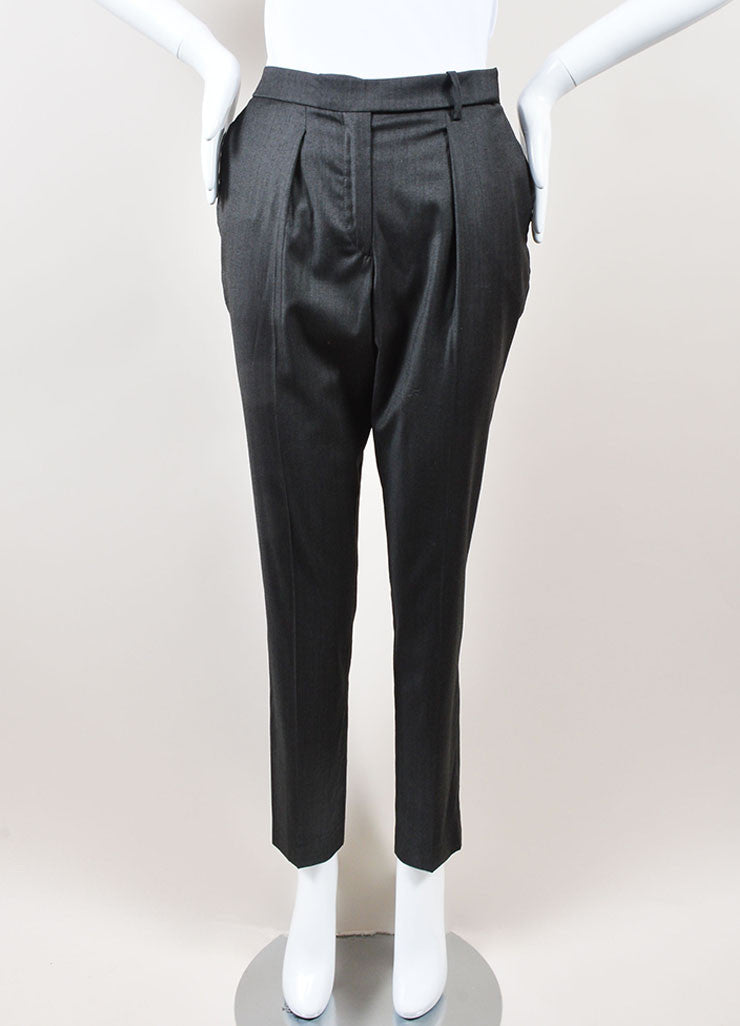 Isabel Marant Grey Lightweight Stretch Wool Straight Leg Trousers Pants Frontview