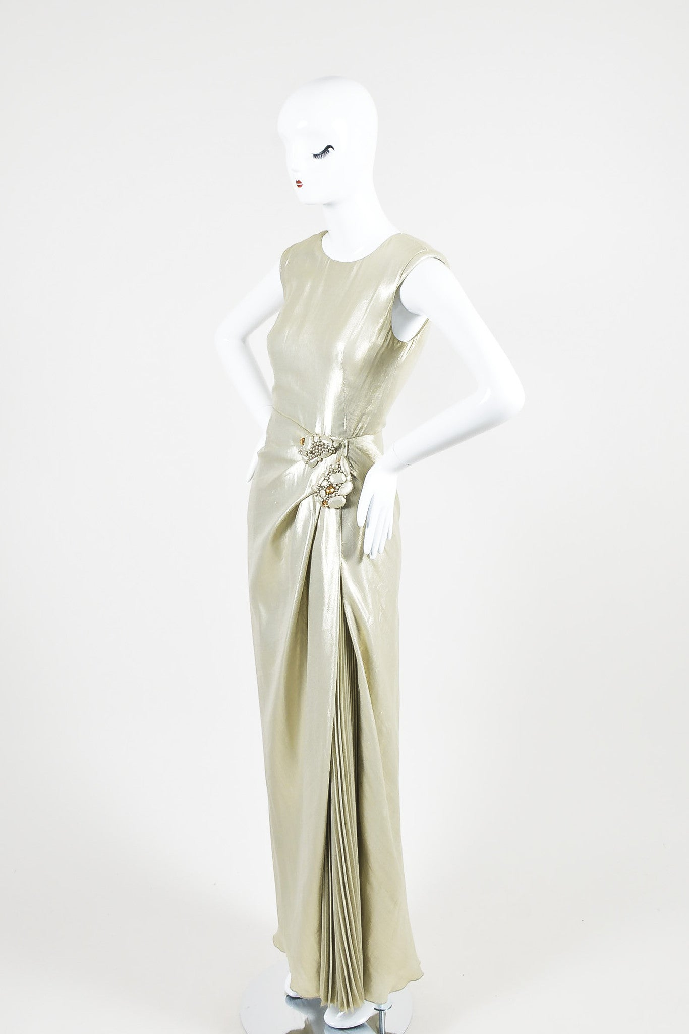 Light Gold Metallic J. Mendel Pleated Beaded Full Length Sleeveless Gown Sideview