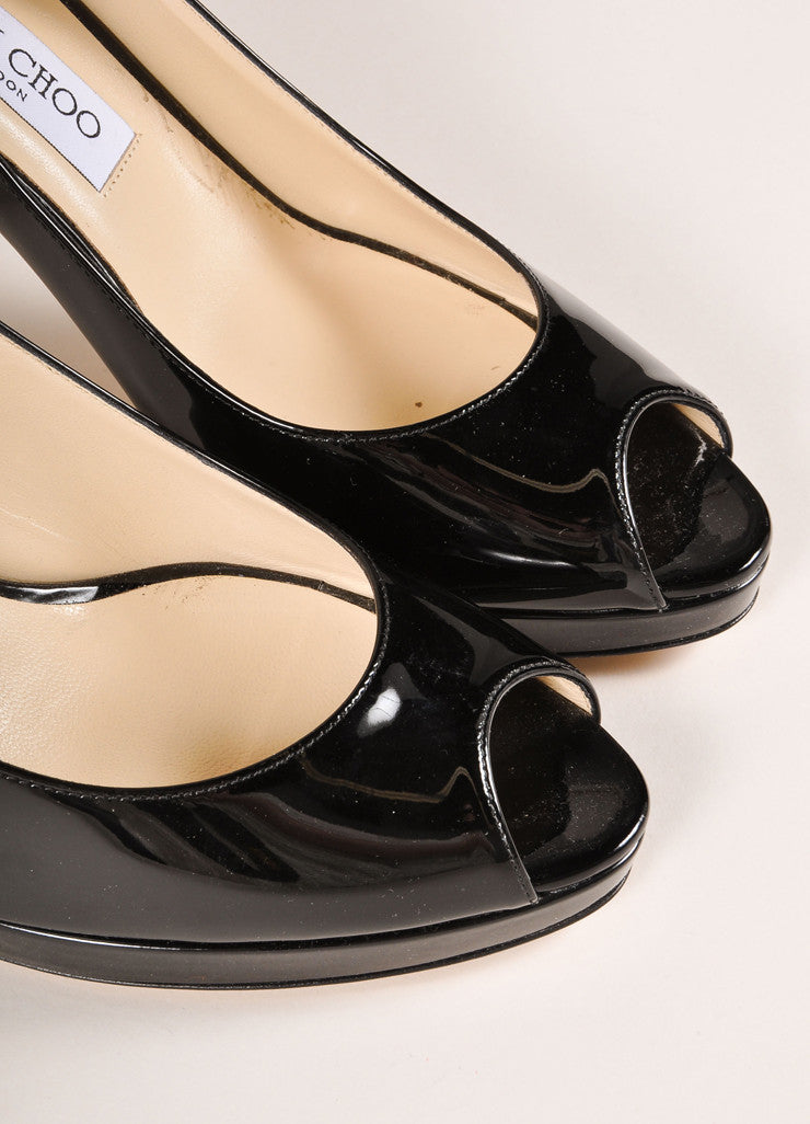 "Jimmy Choo New In Box Black Patent Leather ""Nova"" Platform Slingback Pumps Detail"