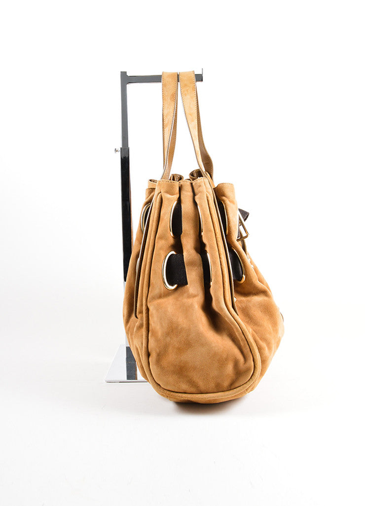 Jimmy Choo Brown Suede and Canvas Woven Strap Tote Bag Sideview