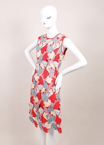 "Jonathan Saunders New With Tags Red and Blue Embroidered Flower ""Samantha"" Dress Sideview"